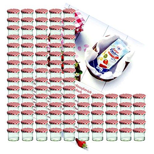 MamboCat 100er Set Sturzglas 125 ml Marmeladenglas Einmachglas Einweckglas to 66 rot Karierter Deckel incl. Diamant-Zucker Gelierzauber Rezeptheft