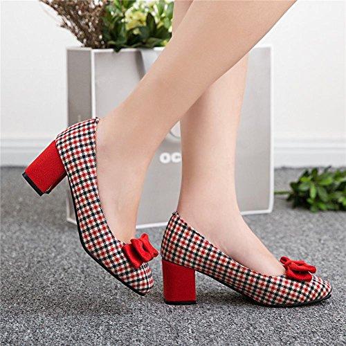 Mee Shoes Damen süß kariert chunky heels vierkant Pumps Rot
