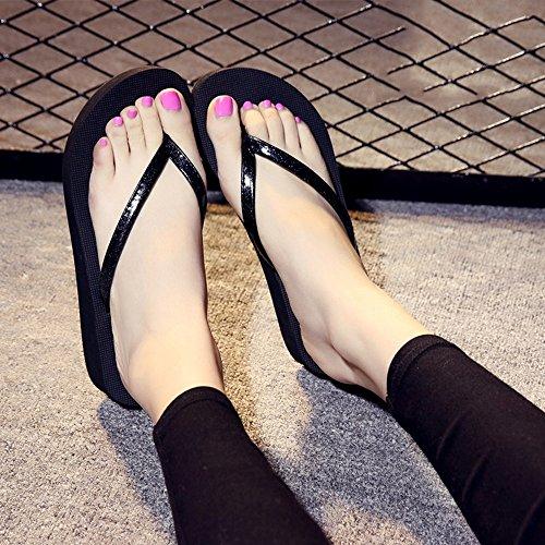 Estate Sandali Pantofole antisdrucciolo estivo femminile per Ooutdoor (rosa, nero, blu, oro, argento) Colore / formato facoltativo Nero