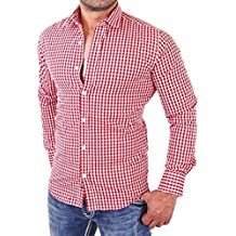 Hombres camisas de manga larga a cuadros Hombres camiseta slim fit business casual (XL,