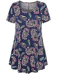BURFLY Print T-Shirt Top, Damen Kurzarm O Neck Floral Tops Damen Sommer T a3c0538a00