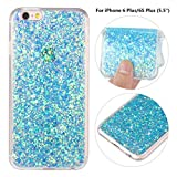 "iPhone 6 Plus Soft Bling Case, iPhone 6S Plus Back Cover, Rosa Schleife Sparkle Luxury Bling Glitter Soft Acrylic Gel TPU Bumper Phone Case Protective Cases Covers for iPhone 6 Plus/6S Plus (5.5"")"