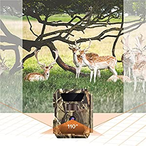 WingHome Trail Camera, 12/16/22MP 1080P Game Camera Night Vision No Glow, 0.4s Trigger Time Outdoor Wildlife Camera Motion Activated Waterproof, 58pcs IR LEDs Infrared Hunting Camera