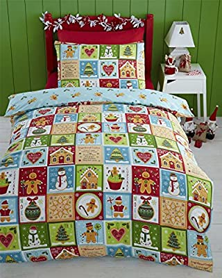 Gingerbread Christmas Double Quilt Duvet Cover & 2 Pillowcase Bedding Bed Set - low-cost UK light shop.