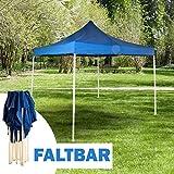 MACOShopde by MACO Möbel Pavillon faltbar - Faltpavillon 3x3m blau mit Tragetasche und stabilem Stahlgestell