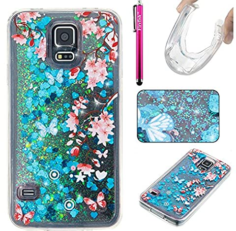 Coque Galaxy S5, Glitter Liquide TPU Etui, Firefish Bling Glitter Bumper Souple Gel Silicone Sparkle Quicksands Housse Cristal Clair Coque pour Samsung Galaxy S5