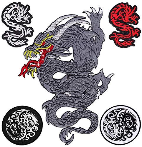 Drachen 5er Set Bestickte Aufnäher Aufbügler Patches Bügelbild Patch Tattoo Wikinger Yin und Yang Kampfsport Japan Karate