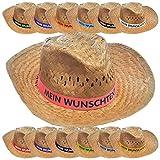 Nashville print factory Strohhut mit Wunschtext Bedruckt auf Farbigem Hutband Sonnenhut Sommerhut Hat Partyhut