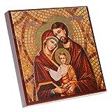 Ikone Heilige Familie zum Stellen oder Aufhängen, teilweise vergoldet, MDF-Holz, 10x10cm