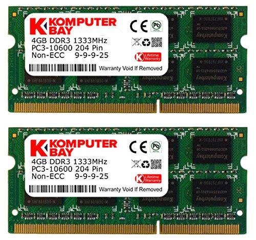 Komputerbay 8GB (2x4GB) DDR3 SODIMM (204 pines) 1333Mhz PC3 10600 para Apple...