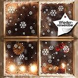 XXL Fensterbild Schneeflocken 120 x Aufkleber im Set – WIEDERVERWENDBAR - Schneeflocken, Sterne und Punkte von Wandtattoo-Loft® / Fensteraufkleber / Fensterbilder / Fensterdeko Set