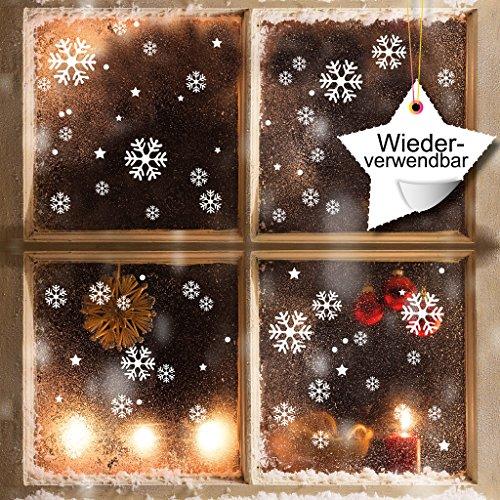 fensterbilder schneeflocken XXL Fensterbild Schneeflocken 120 x Aufkleber im Set – WIEDERVERWENDBAR - Schneeflocken, Sterne und Punkte von Wandtattoo-Loft® / Fensteraufkleber / Fensterbilder / Fensterdeko Set