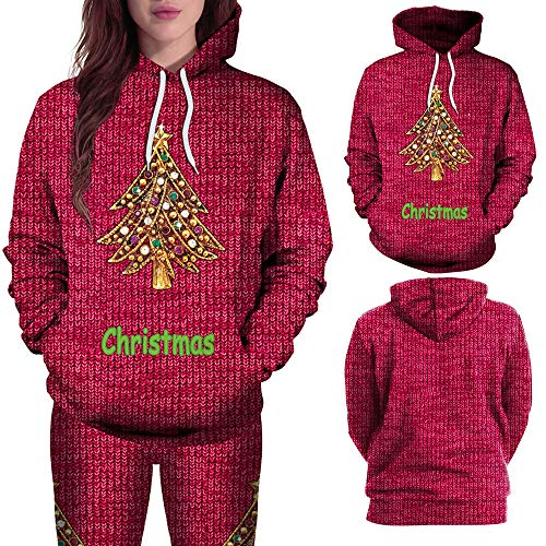 Beginfu Weihnachtsbaum Frauen Einfarbig Sweatshirt Herbst Winter 3D Brief Print Long Sleeves Hoodies Bluse Tops Shirt Freizeit Slim-Fit Hip-Hop Hoodie Strickwaren Hemd
