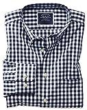 Charles Tyrwhitt Bügelfreies Classic Fit Hemd aus Popeline in Marineblau mit Gingham-Karos Knopfmanschette