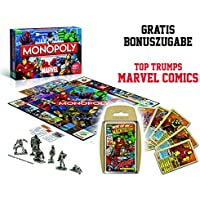Monopoly Marvel Universe Edition Brettspiel - Deutsch - X-Men The Avengers Spiderman Hulk Ironman Die Fantastischen Vier mit Mavel Comics Top Trumps