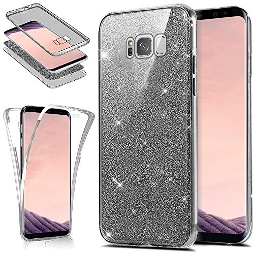 Kompatibel mit Galaxy S8 Plus Hülle Schutzhülle Case,Full-Body 360 Grad Bling Glänzend Glitzer Klar Durchsichtige TPU Silikon Hülle Handyhülle Tasche Front Cover Schutzhülle für Galaxy S8 Plus,Schwarz - Plus-galaxy-handys Seite