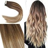 YoungSee 20 Tressen 50 cm Echthaar Extensions Tape Balayage Braun Gesträhnt zu Blond Tape Extensions Echthaar Haarverlängerung 100% Remy Human Hair 50g