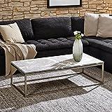 lounge-zone Design Couchtisch Pesaro Tischplatte Marmor Alanya Black Rustik Gestell Nickel gebürstet 120x60cm 12857
