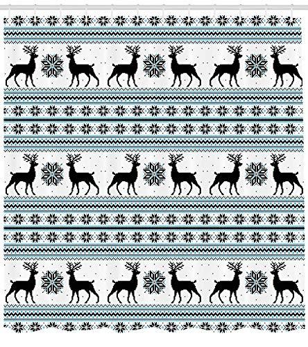 Presock Nordic Duschvorhang, Chevron Zigzags Winter Floral Arrangement Norwegian Reindeer Snow Pattern, Fabric Bathroom Decor Set with Hooks, 60 x 72Inch, Black White Sky Blue (Tmnt Duschvorhang)