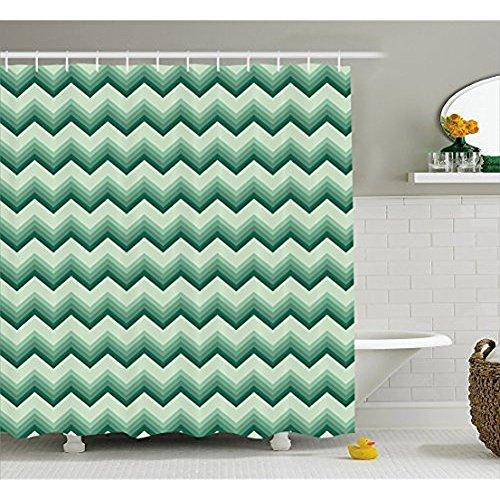 H&S Emerald Duschvorhang von, Geometrische Zickzack Chevron Muster weichen farbigen Bild Vintage Design drucken, Stoff Badezimmer eingerichtet mit Haken, Teal Blassgrün 60