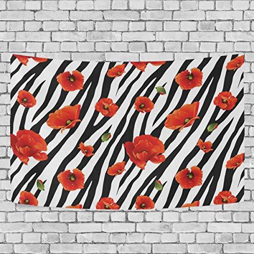 JSTEL Blumen-Zebra-Wandbehang Dekoration für Wohnzimmer, Wohnzimmer, Wohnzimmer, Tisch, Überwurf, Tagesdecke, Wohnheim, 100 x 150 cm, Multi, 150 x 230 cm (Tisch Dekorationen Zebra)