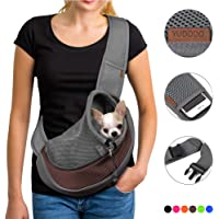 YUDODO Pet Dog Sling Carrier Breathable Mesh Travel Safe Sling Bag Carrier for Dogs Cats (S(up to 5 lbs), Brown Reflective)