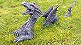 SSITG XXL Großer 3 teiliger Drache mit Kugel Dragon Figur Garten Gartenfigur Drache