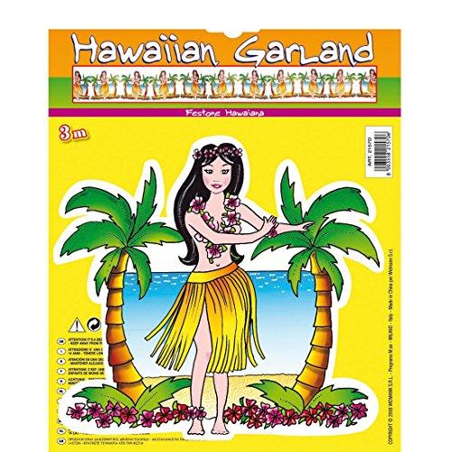 Hawaii Girlande Partygirlande Aloha 3 m Hula Tänzerin Hängedeko Sommer Dekohänger Honolulu Party Dekokette Partyartikel Südsee