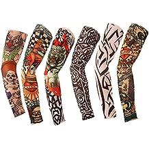 TININNA Manguitos,Juego de 6 Pairs Novedosas Mangas con Apariencia de Tatuaje Real temporales - Diseños tribal, dragón, calavera, etc-A