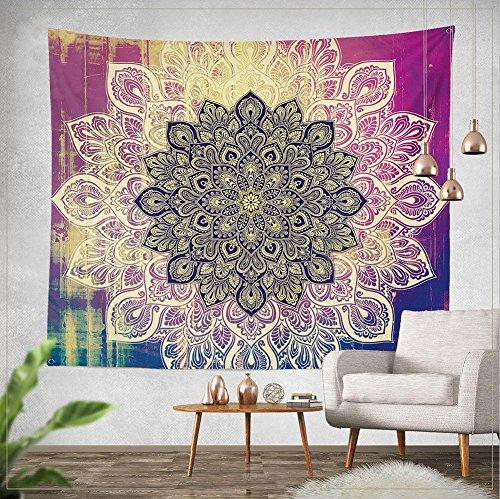 Goldbeing indischer Wandteppich Wandbehang Mandala Tuch Wandtuch Gobelin Tapestry Goa Indien Hippie-/ Boho Stil als Dekotuch /Tagesdecke indisch orientalisch psychedelic (150 x 130cm, Style 2) - Mandala Hippie