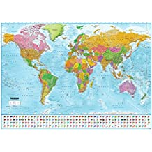Póster XXL Mapa del mundo con banderas - Versión 2018 (140cm x 100cm)