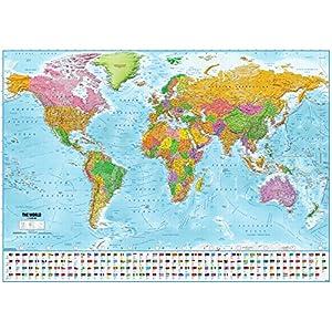 Póster XXL Mapa del mundo con banderas – Versión 2018 (140cm x 100cm)