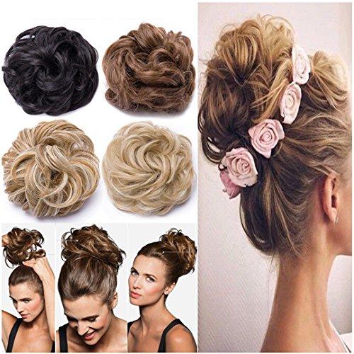 Chignon elastico capelli extension finti biondi ponytail hair extensions toupet donna coda di cavallo posticci ricci 40g, biondo chiarissimo