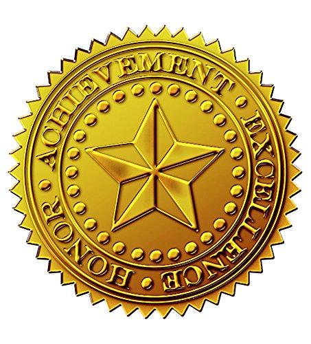Tolles Papier. Starburst geprägt und Gold Folie Zertifikat Dichtung, 4,4cm 48Count (903419) (Gold-folie-zertifikat Dichtungen)