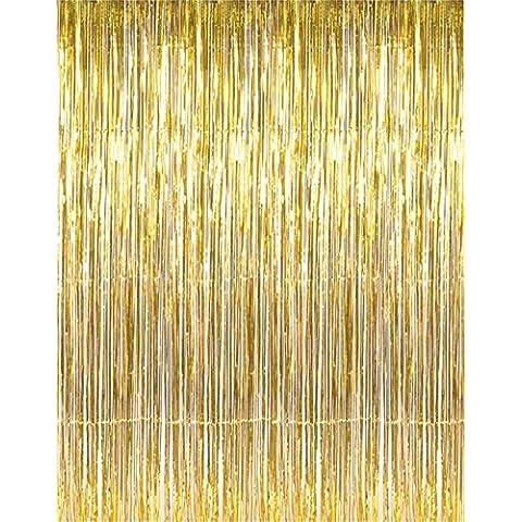 riroad espumillón metálico Foil Fringe Cortinas para Telón de fondo de fotos de fiesta boda (oro), Pack