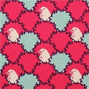 Toile echino arc rose fuchsia avec des oiseaux et un motif d'écailles de poisson