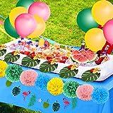 SPECOOL Hawaiian Tropical Dekoration, 52PC Beach Party Supplies mit bunten Ananas Flamingo Ballons Palm Simulation verlässt Banner Papier Pom Poms für Luau Party Dschungel Sommer Tischdekorationen - 8