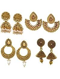 Zaveri Pearls Jhumki Earrings for Women (Golden)(ZPFK6030)