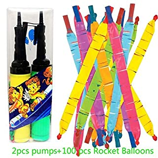 JOYOOO 100 PCS Toy Rocket Balloons,Giant Rocket balloons refill with Pair of Pumps SET, Party Favor Supplies Long Balloon Flying Whistling(colors may vary)