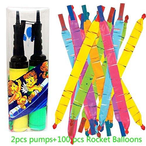 JOYOOO 100 Rakete Luftballons mit Pipes und 2 Ballon Pumpe toll für - Raketen-luftballons