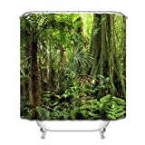 LB Tropischer Landschaftsduschvorhang, Dschungel Wald mitTall Tree 180x180cm (71
