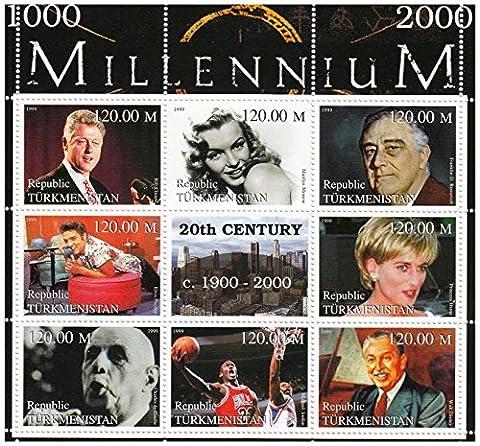 Publié en 2000, cette feuille de Turkménistan célèbre gens célèbres du 20e siècle, dont Charles de gaulle, la princesse Diana et Walt Disney. Il dispose de 8 timbres et une étiquette, neuf sans charnière