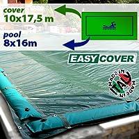 Telo di copertura invernale per piscina 8x16 mt con tubolari e fasce anti ribaltamento