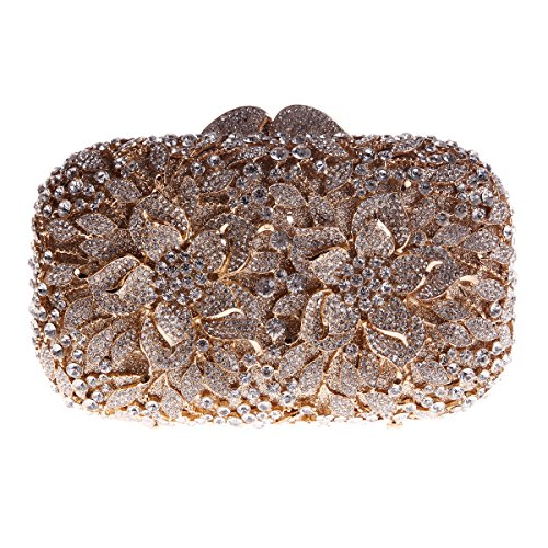 Bonjanvye Floral Evening Bags Prom Party Dress Clutches Bags for Girls Rose Gold Gold