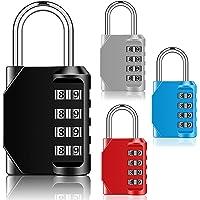 4 Packungen 4 Stelliges Zahlenschloss Outdoor Schlüssel Vorhängeschloss mit Gehärtetem Schäkel für Schule Turnhalle Tür…
