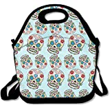 Skull Pattern Mexico Sugar Skull Waterproof Lunch Tote Bag Insulated Reusable Picnic Lunch Boxes For Men Women Kids