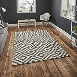 Modernes Superior Qualität Geometrische Muster schwere Gewicht grau/weiß Teppich mit zwei Variationen in Größe, Polypropylen, grau / weiß, 160 x 220 Cm