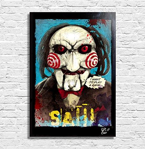 Billy die puppe aus dem Film SAW (Jigsaw) - Original Gerahmt Fine Art Malerei, Pop-Art, Poster, Leinwand, Artwork, Film Plakat, Leinwanddruck, Horror, Halloween
