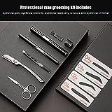 Makeup Augenbrauen Kit, 5 in 1 Männer Augenbraue Grooming Set Augenbraue Trimmer Zeichnung Schablonen Pinzette Eye Make Up Tool Kit