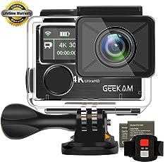 Action Kamera GeeKam 4k Wasserdichte 30M Sport Cam Digitale Wifi Doppelbildschirm Ultra full HD Unterwasserkamera 170° Weitwinkel Aktions Helmkamera mit 2 Verbesserten 1050mAh Batterien und kostenloses Zubehör